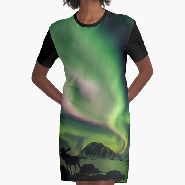 Moose with Northern Lights Graphic T-Shirt Dress