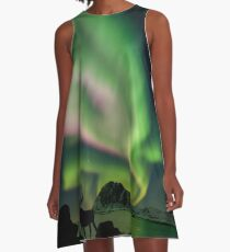 Moose with Northern Lights A-Line Dress