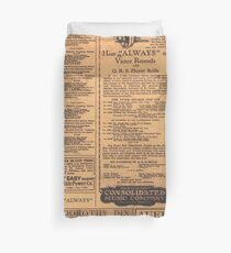 Old Newspaper Page Look Duvet Cover