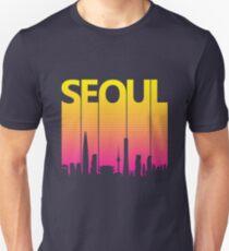 Retro 80s Seoul South Korea Skyline Silhouette Slim Fit T-Shirt