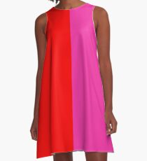 Colour blocking red and pink A-Line Dress