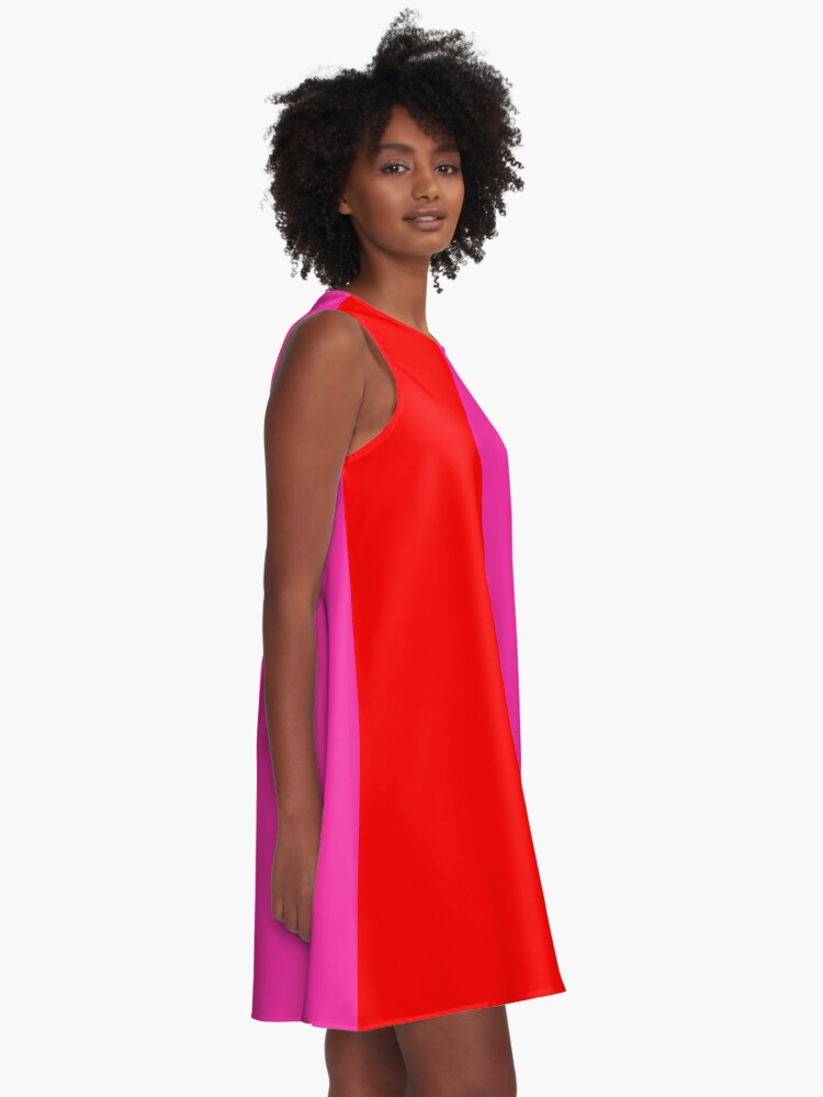 Alternate view of Colour blocking red and pink A-Line Dress
