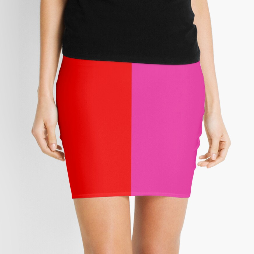 Colour blocking red and pink Mini Skirt Front
