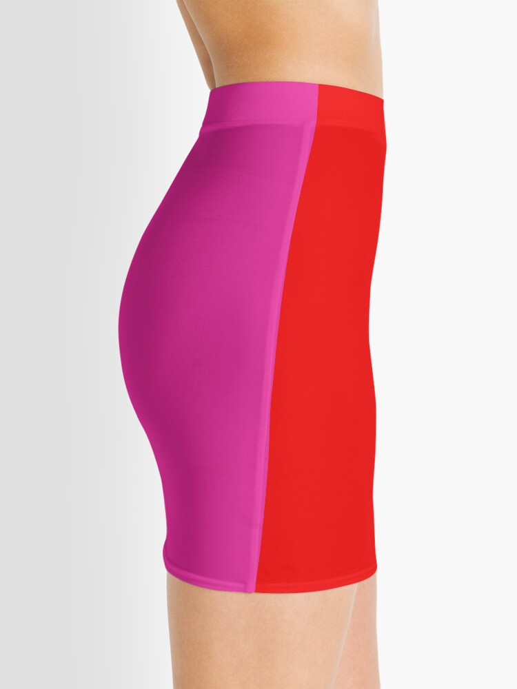 Alternate view of Colour blocking red and pink Mini Skirt