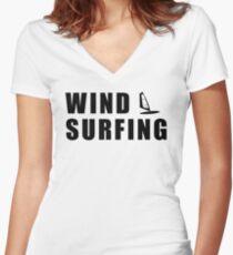 windsurfer surfing Women's Fitted V-Neck T-Shirt