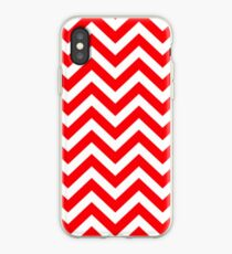 Red & White Christmas Chevron iPhone Case