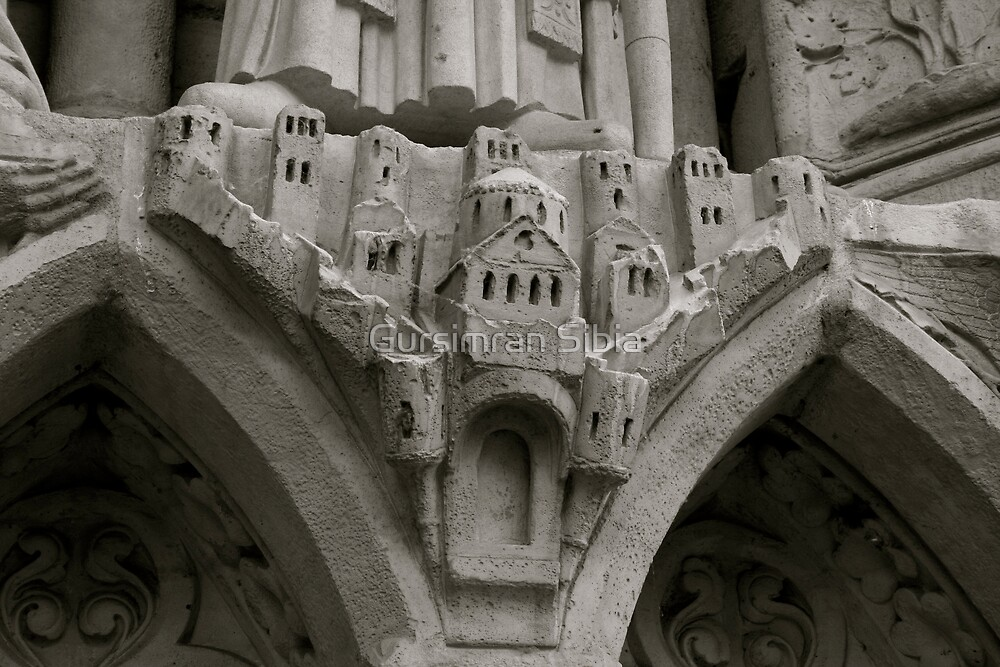 A village carved on Notre Dame's Wall by Gursimran Sibia