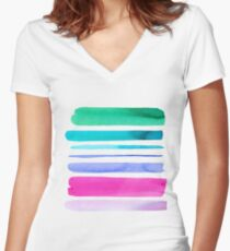 Watercolour Stripes no 2 Women's Fitted V-Neck T-Shirt