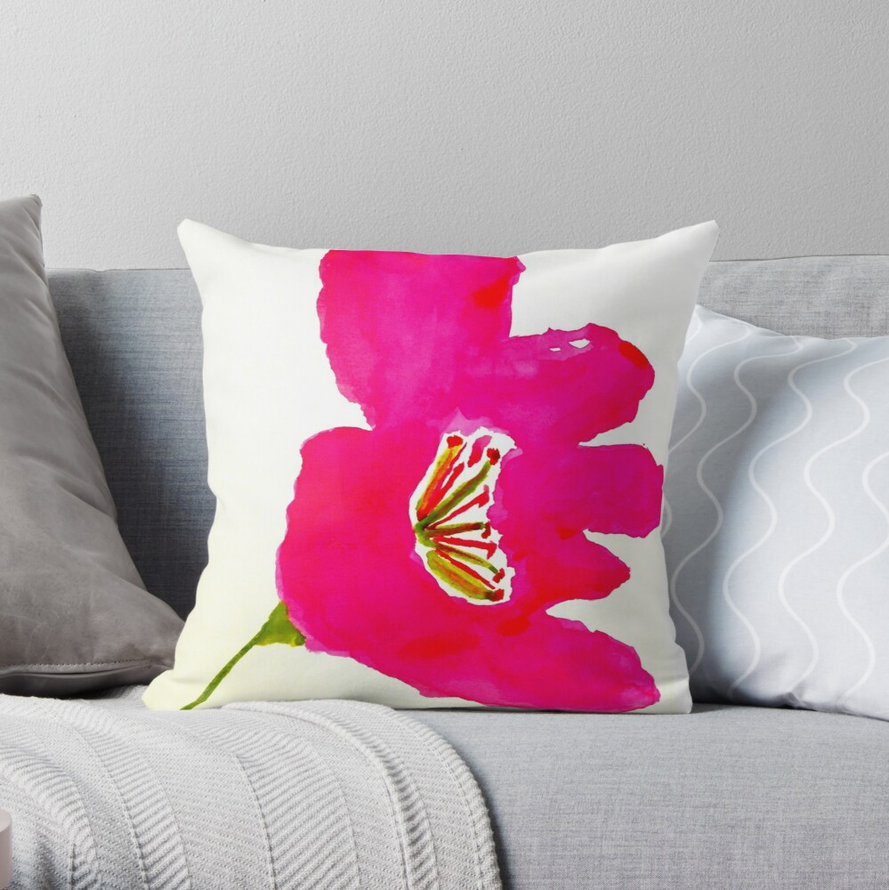 Fuchsia Flower Throw Pillow