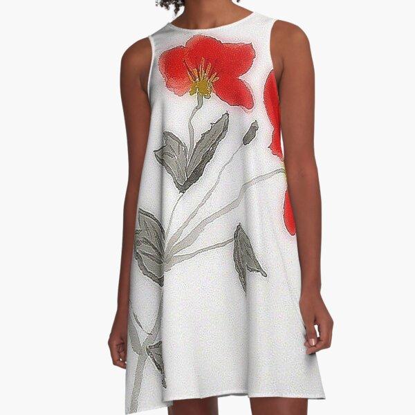 Oriental Poppies A-Line Dress