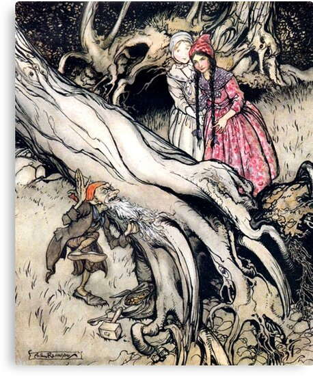 Snow White and Rose Red - Brothers Grimm - Arthur Rackham by forgottenbeauty