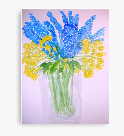 Blue and Yellow Flowers Canvas Print