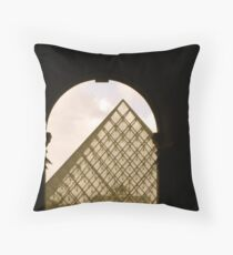 First view of Louvre's Pyramid! Throw Pillow