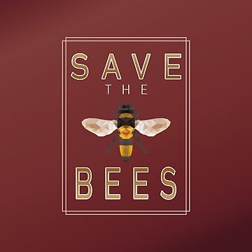 Save the Bees - Geometric Bee- Red by jitterfly