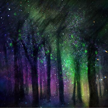 Northern Lights Hipster Colorful Trees Forest Design Watercolor Nature by dfitts
