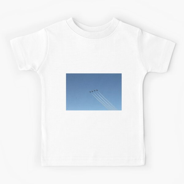 Air show, #AirShow, #sky #airplane #plane #blue #jet #flight #air #flying #aircraft #fly #travel #trail #aeroplane #clouds #white #aviation #cloud #contrail #smoke #glider #transport #high #speed Kids T-Shirt
