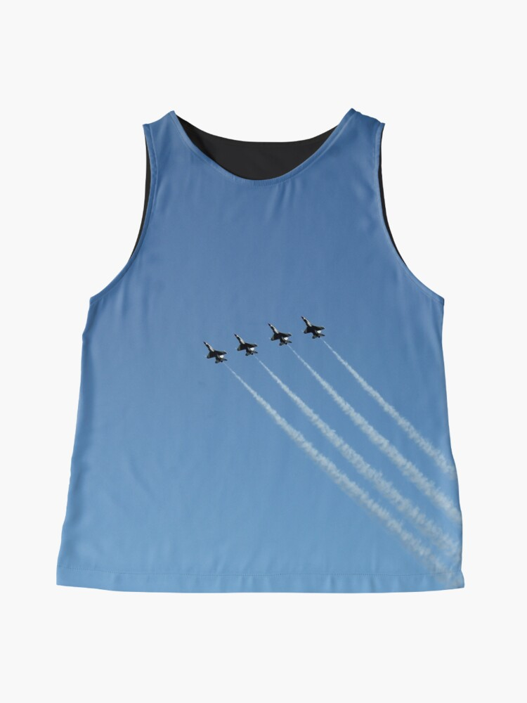 Alternate view of Air show, #AirShow, #sky #airplane #plane #blue #jet #flight #air #flying #aircraft #fly #travel #trail #aeroplane #clouds #white #aviation #cloud #contrail #smoke #glider #transport #high #speed Sleeveless Top