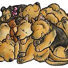 Sleeping pile of Australian Terrier dogs by animalartbyjess