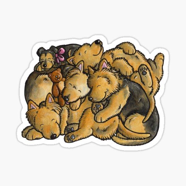 Sleeping pile of Australian Terrier dogs Sticker