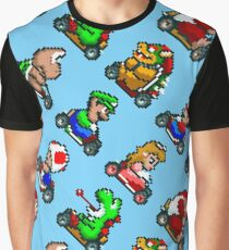 Super Mario Kart / 8 characters pattern / blue sky / large Graphic T-Shirt