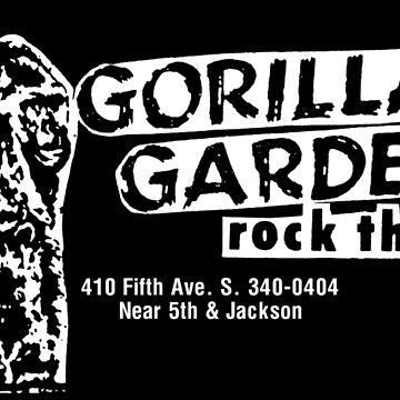 Gorilla Gardens Rock Theater, Seattle Birthplace of Grunge (Jungle, White)  by PissAndVinegar