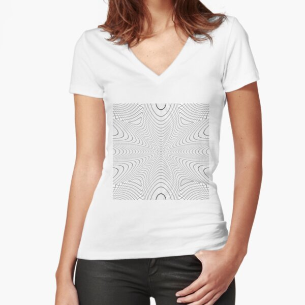 #abstract #pattern #texture #design #blue #white #wallpaper #circle #art #wall #illustration #line #wave #lines #light #textured #color #decorative #optical #black #graphic #curve #backdrop #rough Fitted V-Neck T-Shirt