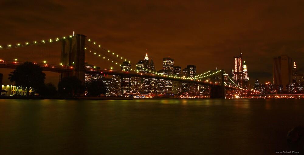 Brooklyn Bridge and NYC by night by Andrea Rapisarda