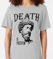 Death Is Freedom   Marcus Aurelius - Father Of Stoicism Slim Fit T-Shirt
