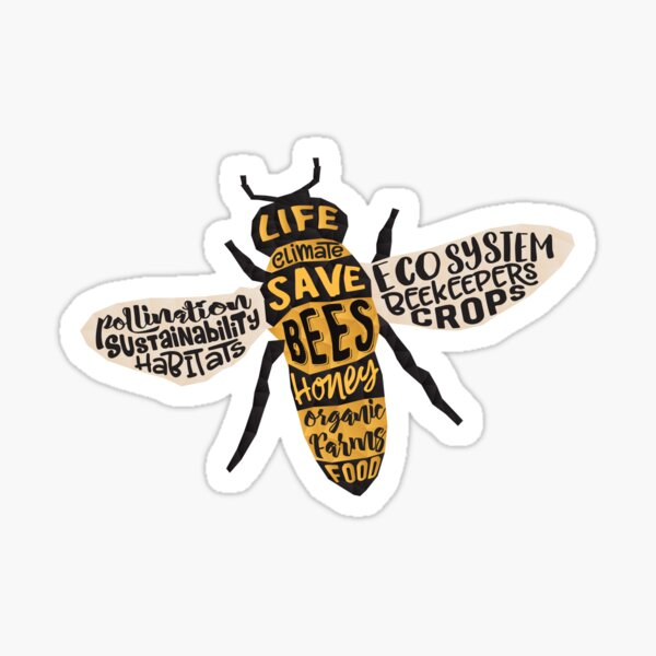 Save Bees - Word Cloud Sticker