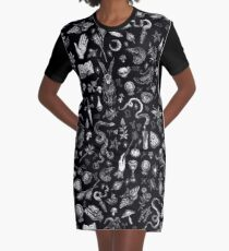 Salem Witch in Black Graphic T-Shirt Dress