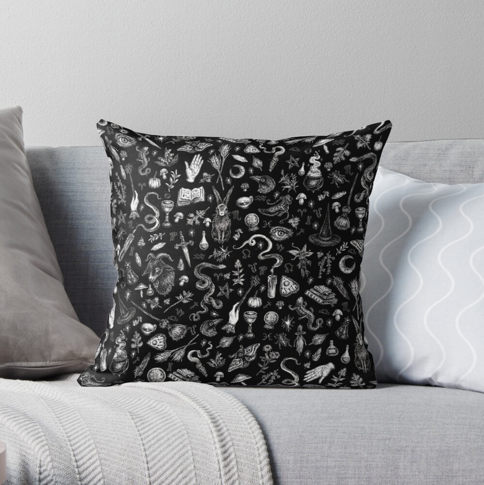 Salem Witch in Black Throw Pillow