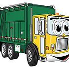 Green Gold Smiling Garbage Truck Cartoon by Scott Hayes