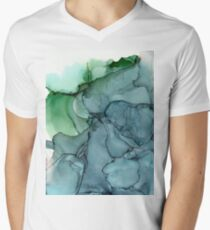 Green Blue Mist Abstract Painting Men's V-Neck T-Shirt
