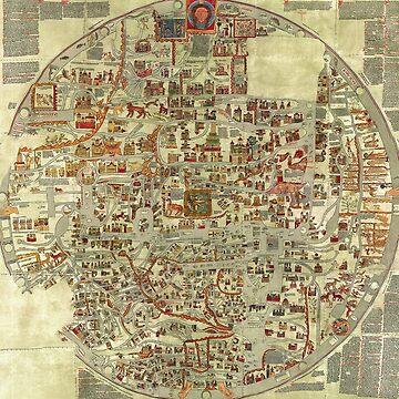 Midieval European Town Vintage Map by 4Craig