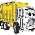 Yellow White Smiling Garbage Truck Cartoon by Scott Hayes