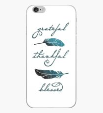 Grateful Thankful Blessed - Christian feathers hand-lettered iPhone Case