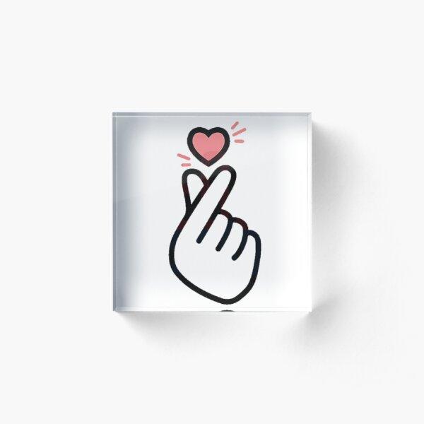 Korean Finger Heart Version 5 (mini design for shirts) Acrylic Block