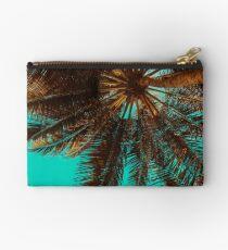 Palm tree under blue sky, beach, gift Studio Pouch