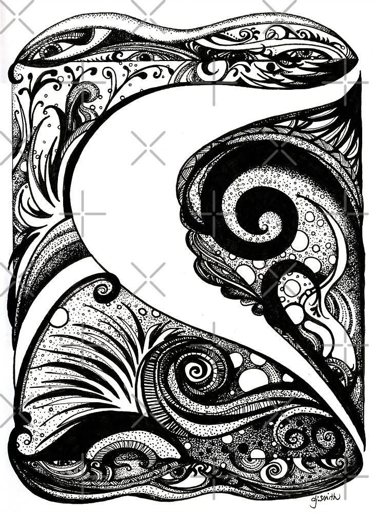 Swirls in the Ocean Floor, Ink Drawing by Danielle Scott