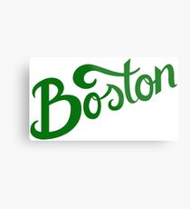 Boston White Hand Lettering Metal Print