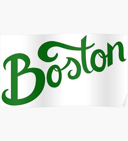 Boston White Hand Lettering Poster