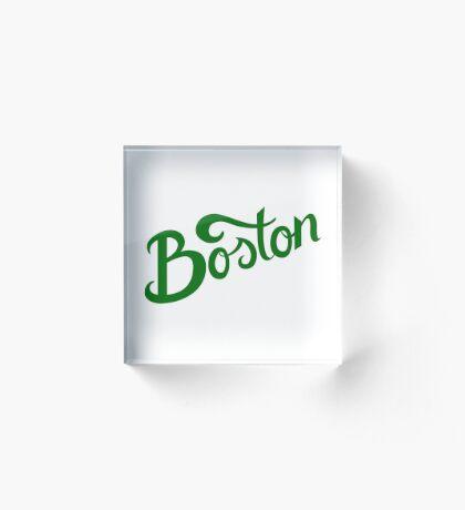 Boston White Hand Lettering Acrylic Block