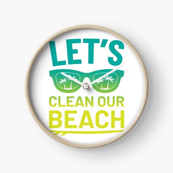 "Beach Clean-Up ""Let's Clean Our Beach"" Surfer Style Clock"