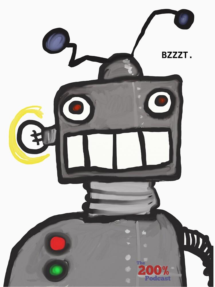 The 200% Podcast Robot t-shirt by 200percentpod
