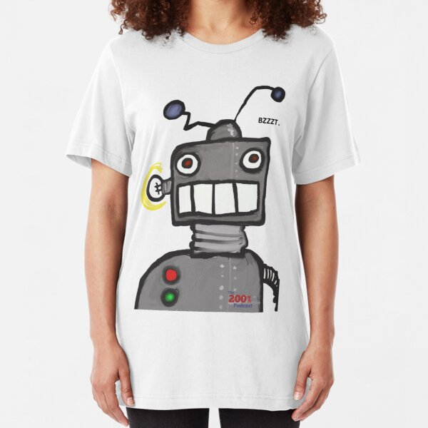 The 200% Podcast Robot t-shirt Slim Fit T-Shirt