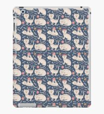 Cute pink brown blue hand painted floral cats iPad Case/Skin