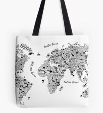Typography World Map. Tote Bag