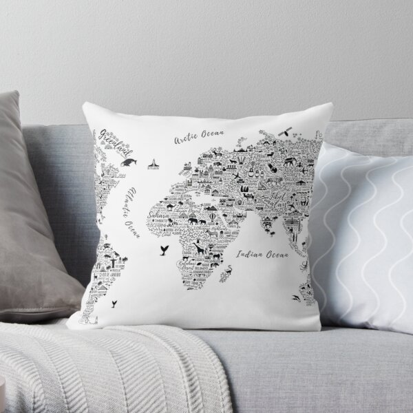 Typography World Map. Throw Pillow