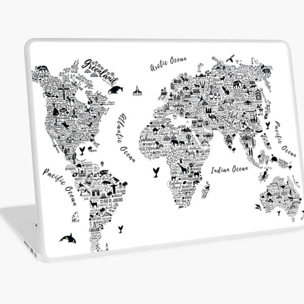 Typography World Map. Laptop Skin