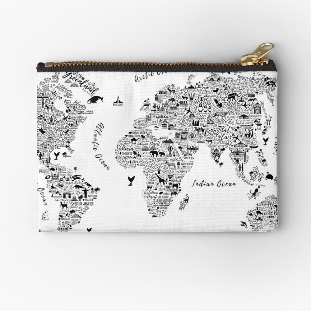Typography World Map. Bolsos de mano